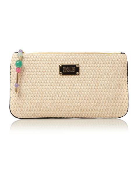 Other Designers Cheap Designer Chic Proenza Schouler Handbags by Moschino Cheap Chic Raffia Clutch Bag In Beige Neutral