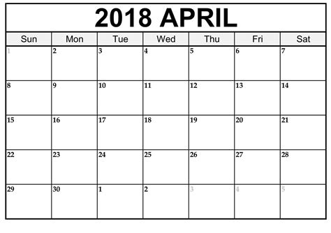 blank calendar template 2018 uk april 2018 calendar printable blank templates printable