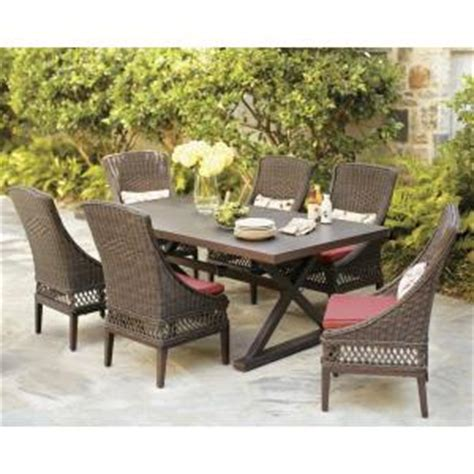 Patio Dining Sets Home Depot Hton Bay Woodbury 7 Patio Dining Set With Chili Cushion D9127 7pcr The Home Depot