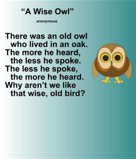 themes in literature wise owl smart exchange usa quot a wise owl quot poetry