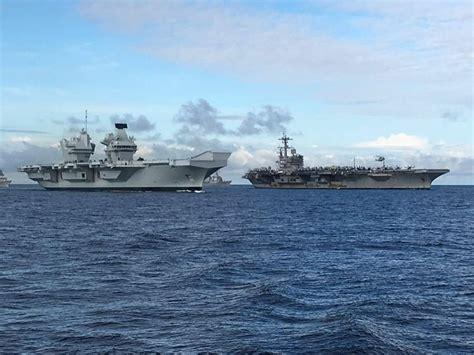 Ship Greyhound by Hms Queen Elizabeth Alongside Uss George H W Bush Navy