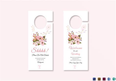 door hanger template indesign floral wedding door hanger card design template in