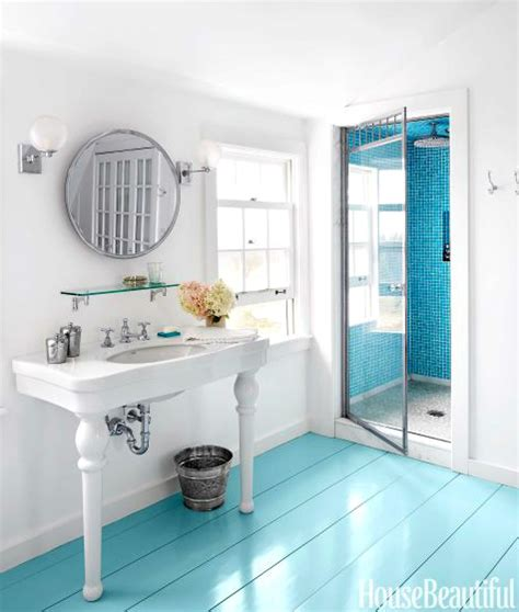 painted floor ideas paint it bright blue home decor ideas from bottles to floors coastal decor ideas and interior