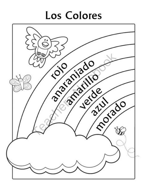 coloring page with color words los colores spanish colors rainbow coloring page from miss