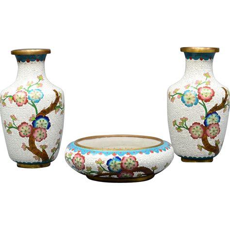 Center Vases by Cloisonne 2 Vases With Center Bowl Set Jade