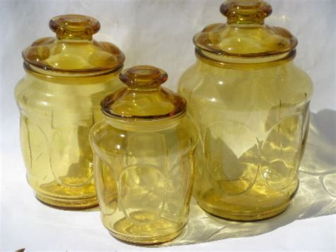 vintage glass canisters kitchen 60s 70s vintage gold glass canister jars kitchen canisters set