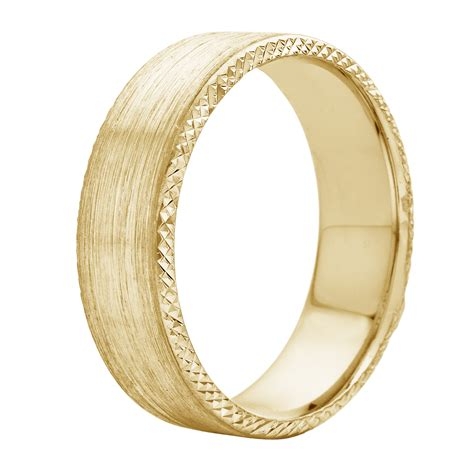 14k 18k white or yellow gold brushed finish and textured