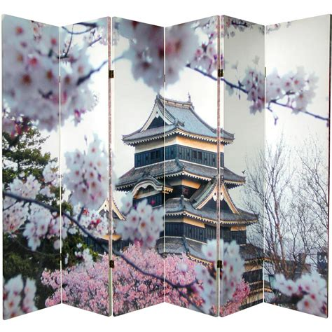 cherry blossom room divider 6 ft sided cherry blossoms canvas room