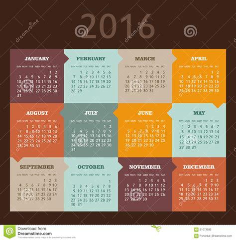 Calendrier Num Ro Semaine 2016 Calendrier Pour 2016 La Semaine Commence Dimanche