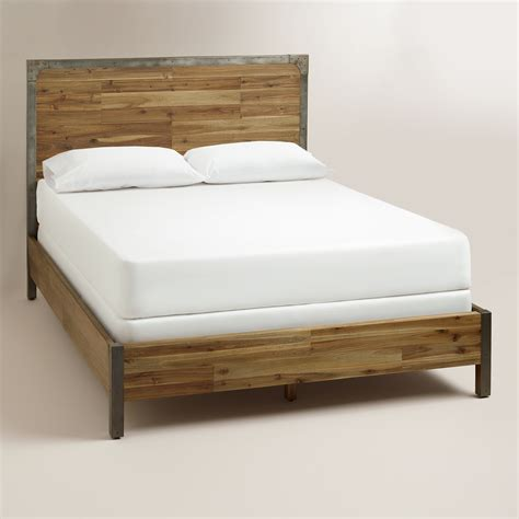 metal and wood bedroom furniture combining rustic wood construction with metal accents our