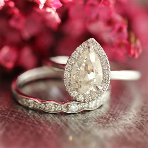 Band Engagement Moissanite Ring Wedding by Moissanite Wedding Set Pear Engagement Ring And Scalloped