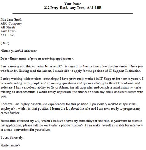 It Support Letter Template It Support Technician Cover Letter Sle Lettercv