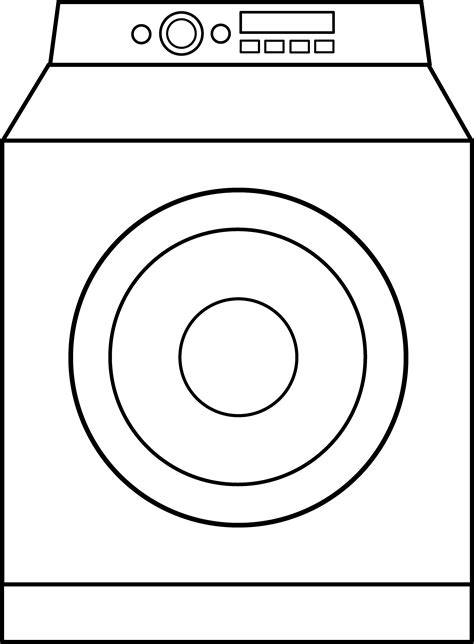 Washing Line Outline by Laundry Machine Clip Cliparts