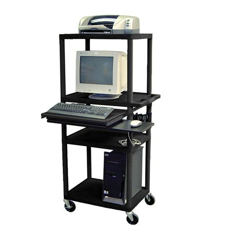 stand up computer desk on wheels furniture black metal stand computer workstation chart