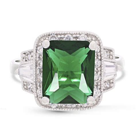 jankuo jewelry rectangular emerald color ring with gift