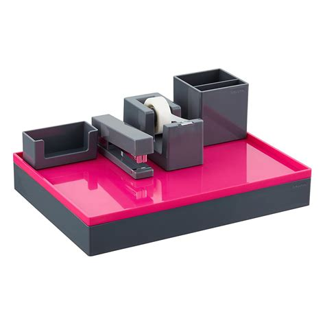 poppin desk accessories grey poppin accessory trays the container store