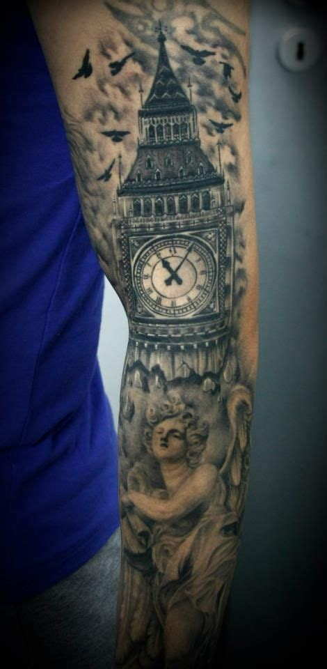 clock tower tattoo big ben clock by 2ndface tattoos