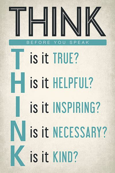 printable think poster think before you speak motivational classroom poster