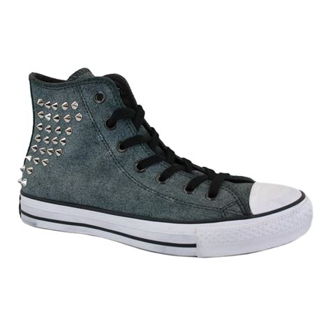 Converse Chuck Grey converse chuck studded collar 540222c womens laced leather trainers grey
