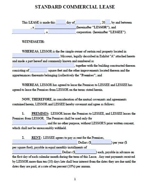 commercial property licence agreement template printable commercial property licence agreement template