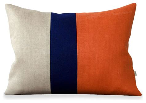 Orange And Navy Throw Pillows by Orange Colorblock Pillow With Navy Linen Stripes Modern Decorative Pillows By