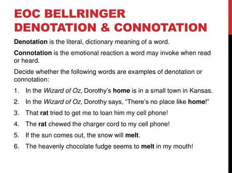 exle of denotation ppt eoc bellringer denotation connotation powerpoint presentation id 2827178