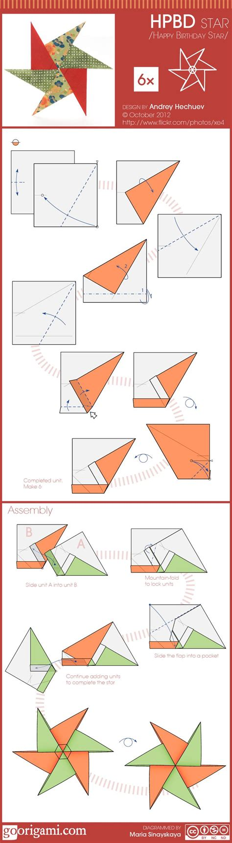 How To Make A Paper 6 Pointed - learn how to fold 6 pointed hpbd origami design by