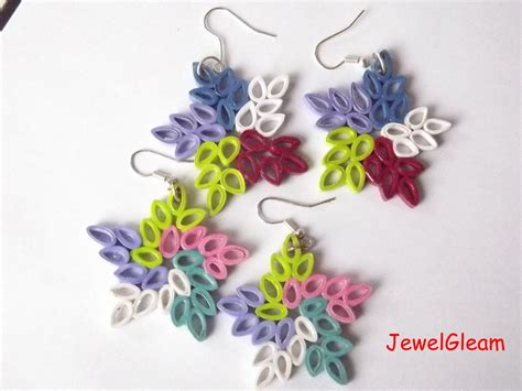 paper quilling rose earrings tutorial paper quilled star earrings tutorial youtube