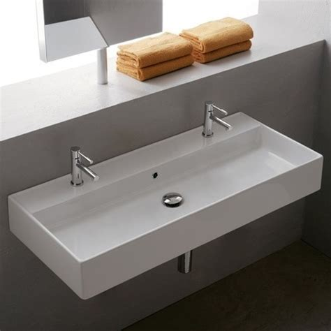double trough sink bathroom one sink two faucets double bathroom sink faucet bathroom