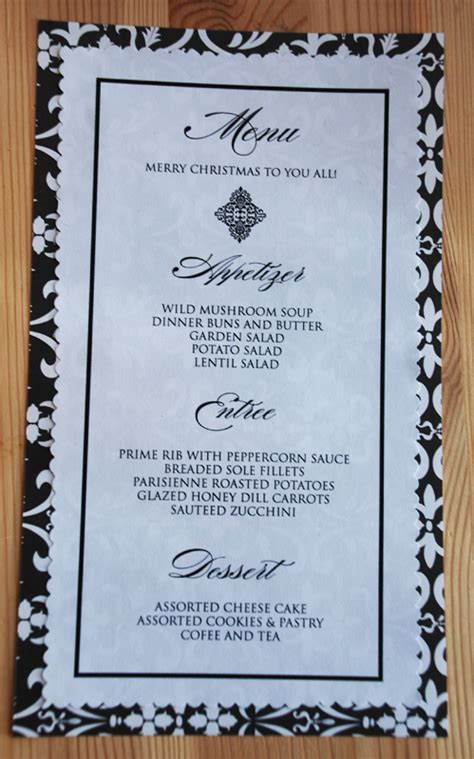 7 best images of printable dinner party menu templates