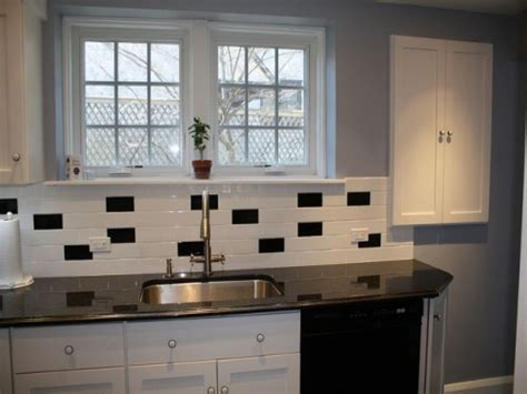 gloss kitchen tile ideas classic black and white subway tile backsplash ideas for
