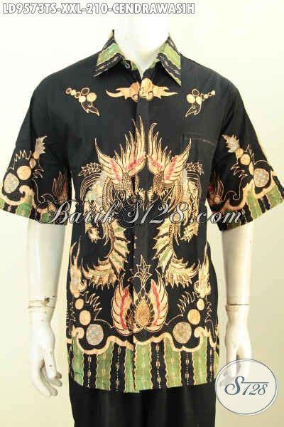 Hem Tomy Kemeja Lengan Pendek kemeja batik jumbo hem batik tulis soga lengan pendek halus motif burung cendrawasih bahan
