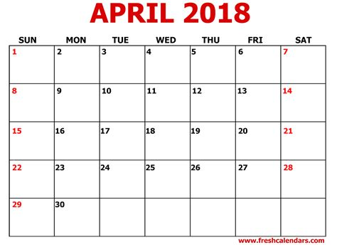 printable calendar templates 2018 april 2018 calendar printable templates