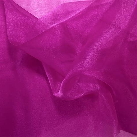 sheer fabric magenta crystal sheer organza fabric for fashion crafts