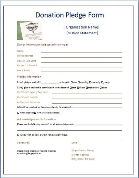 pledge card template word sle donation pledge form printable forms