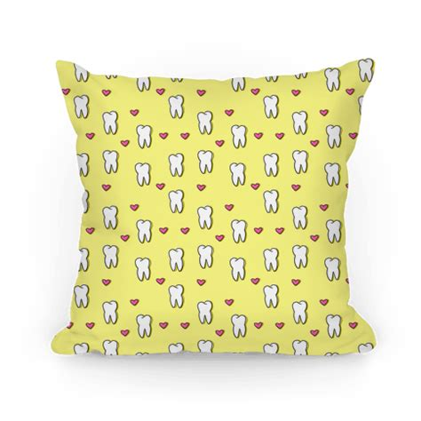 Tooth Pillow Pattern by Human Tooth Pattern Homedecor Pillow