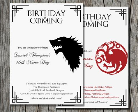 of thrones birthday card template of thrones birthday invitation invitation librarry