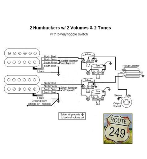 Volume Knob Wiring by Wiring Two Humbuckers With Two Volume And Two Tone Knobs