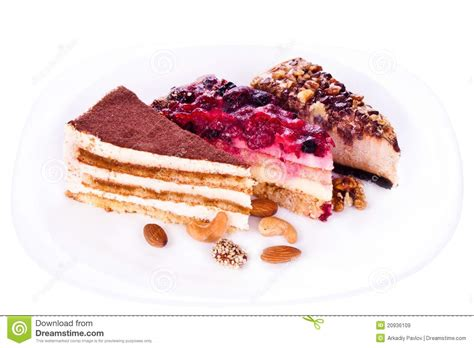Pieces Of Three three pieces of cakes stock image image of souffle
