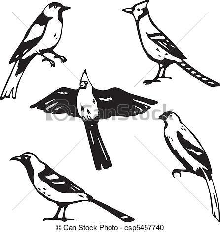 gabbiano cing clipart vecteur de oiseaux chanteurs cinq stylis 233