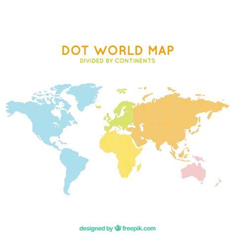 world dot map dot world map divided by continents vector free