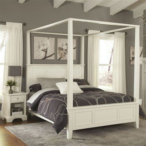 king canopy bed home styles naples white king canopy bed 5530 610 the home depot