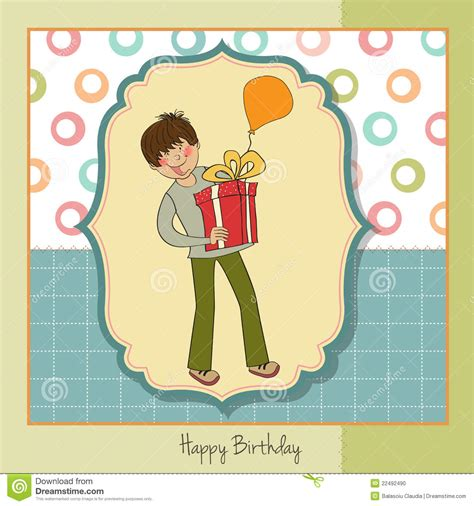 Big Boy Gift Card - greeting card with boy and big gift stock photo image 22492490