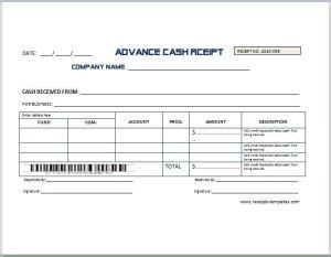 printable receipt with balance due sle advance receipt template receipt templates