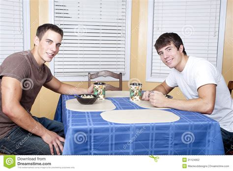 room for roommates college roommates breakfast stock photography