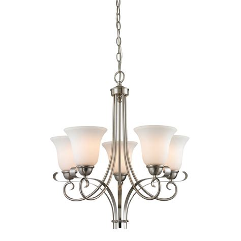 Chandelier Home Depot Titan Lighting 5 Light Chandelier In Brushed Nickel The Home Depot Canada