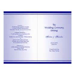folded wedding program template plain navy blue folded wedding program template flyer zazzle