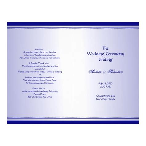folded wedding program template plain navy blue folded wedding program template flyer zazzle