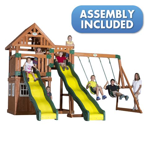 swing sets assembly included backyard discovery journey all cedar swingset delivery and