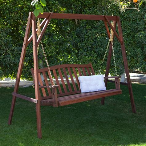Porch Swing With Stand | belham living richmond curve back porch swing stand set